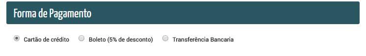 Forma de Pagamento transferência bancária