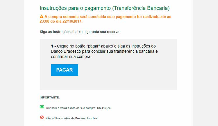 Transferência bancária pelo Bradesco