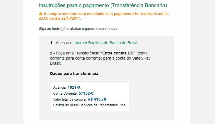 Transferência bancária pelo Banco do Brasil