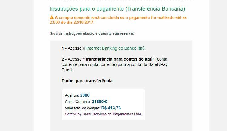 Transferência bancária pelo Itaú