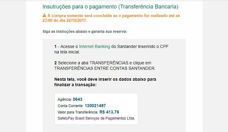Transferência bancária pelo Santander