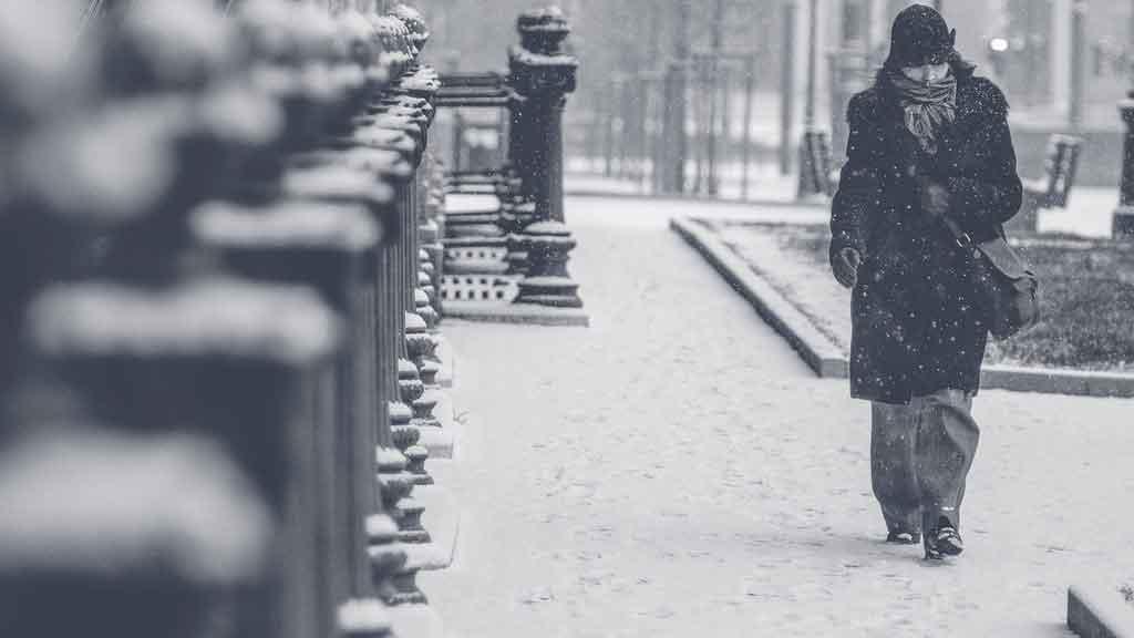 Roupas para neve na cidade