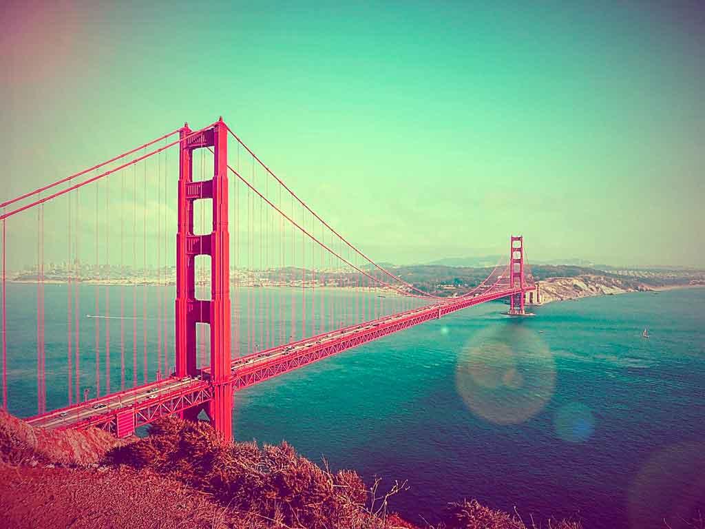 Pontos turísticos nos Estados Unidos golden gate bridge